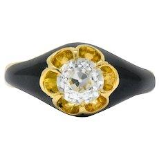 Victorian 0.80 CTW Old European Diamond Enamel 18 Karat Gold Mourning Ring