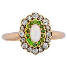Edwardian Diamond Demantoid Garnet Opal 14 Karat Two-Tone Gold Cluster Ring