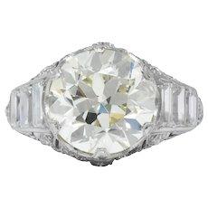 Art Deco 6.01 CTW Transitional Cut Diamond Platinum Engagement Ring GIA