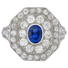 Art Deco 3.50 CTW No Heat Sapphire Diamond Platinum Alternative Engagement Ring
