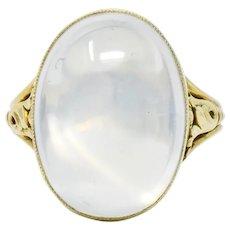 Art Nouveau Oval Cabochon Moonstone 14 Karat Gold Cocktail ring