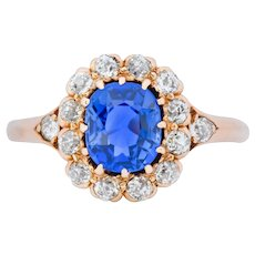 Victorian 1.60 CTW No Heat Kashmir Sapphire Diamond 14 Karat Rose Gold Cluster Alternative Engagement Ring AGL GIA