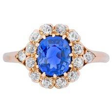 Victorian 1.60 CTW No Heat Kashmir Sapphire Diamond 14 Karat Rose Gold Cluster Alternative Engagement Ring AGL GIA