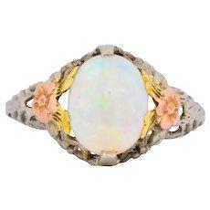 Edwardian Oval Cabochon Opal 14 Karat Tri-Colored Gold Ring
