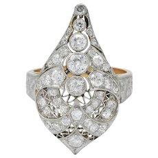Edwardian 1.60 CTW Old European Diamond Platinum 14 Karat Rose Gold Cocktail Ring