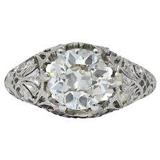 Edwardian 1.25 CTW Old European Diamond Platinum Engagement Ring GIA