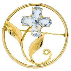 Tiffany & Co. Retro 5.15 CTW Aquamarine Sapphire 14 Karat Gold Flower Brooch