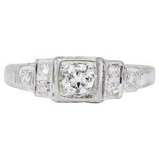 MK Edwardian Diamond 18 Karat White Gold Antique Engagement Ring