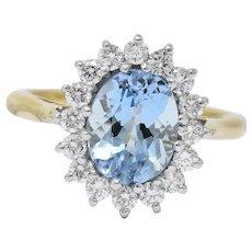 S & D 2.35 CTW Aquamarine Diamond 18 Karat Two-Tone Gold Cluster Ring