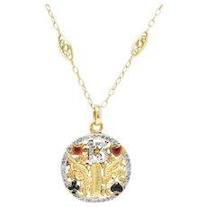 French Belle Époque Diamond Enamel 'Lucky 13 Four Leaf Clover' 18 Karat Gold Pendant Necklace