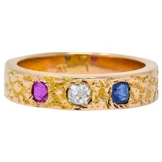 Victorian 0.70 CTW Diamond Sapphire Ruby 14 Karat Rose Gold Band Ring