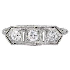 Edwardian 0.45 CTW Old European Diamond Platinum 3 Stone Ring