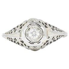 Edwardian 0.30 CTW Diamond 14 Karat White Gold Engagement Ring