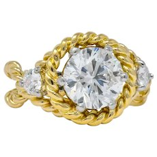Tiffany & Co. Jean Schlumberger 2.50 CTW Diamond Platinum 18 Karat Gold Engagement Ring GIA