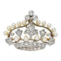 Edwardian 1.58 CTW Old European Diamond Pearl Platinum-Topped Gold Crown Pendant Brooch