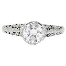 Edwardian 0.89 CTW Diamond Platinum Engagement Carter, Gough & Co.