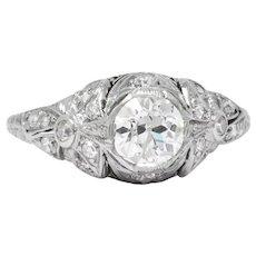 Edwardian 1.07 CTW Old European Cut Diamond Platinum Engagement Ring GIA