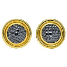 Gucci Vintage Carved Hematite 18 Karat Gold Ear-Clip Earrings