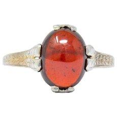 Edwardian Garnet 18 Karat White Gold Ring