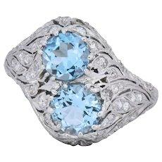 Edwardian 1.80 CTW Aquamarine Diamond Platinum Toi et Moi Ring