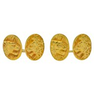 Fine Art Nouveau 14 Karat Gold Lion & Lioness Cufflinks
