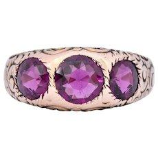 Victorian 3.10 CTW Almandine Garnet 10 Karat Rose Gold Ring