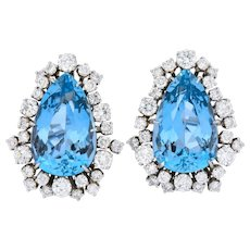 Contemporary 34.50 CTW Aquamarine Diamond 14 Karat White Gold Earrings