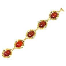Allsopp & Allsopp Art Nouveau Carnelian Scarab 14 Karat Gold Dragon Accented Bracelet