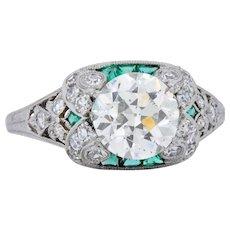 Edwardian 2.10 CTW Old European Diamond Emerald Platinum Engagement Ring GIA