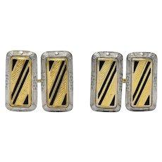 Fancy Edwardian Enamel Platinum 14 Karat Gold Cufflinks