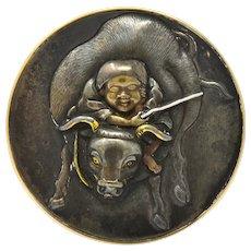 Victorian 14 Karat Rose Gold Mixed Metal Lao Tzu Boy & Ox Shakudo Ring