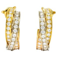 Cartier 5.00 CTW Round Brilliant Diamond 18 Karat Tri-Gold Trinity Earrings
