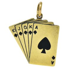 Art Deco Enamel 14 Karat Gold Playing Cards Charm in Spades