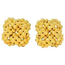 Tiffany & Co. Vintage 18 Karat Gold Cluster Ear-Clip Earrings