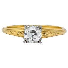 Jabel 1920's 0.90 CTW Diamond 18 Karat Gold Engagement Ring