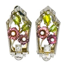 Krementz Art Nouveau Diamond Garnet Tourmaline Pearl 14 Karat White Gold Ear-Clip Earrings