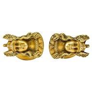 Antique 10 Karat Gold Norse Valkyrie Goddess Men's Cufflinks