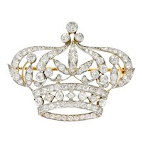 Black Starr & Frost Edwardian 2.88 CTW Diamond Platinum-Topped 18 Karat Gold Crown Brooch