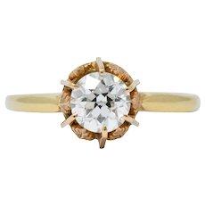 Victorian 0.70 CTW Diamond 14 Karat Two-Tone Gold Engagement Ring