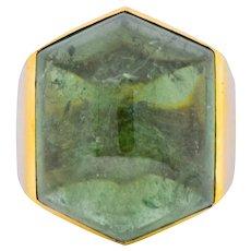 Elizabeth Gage Vintage 1962 Green Tourmaline 18 Karat Gold British Unisex Ring