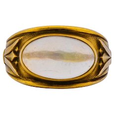 Egyptian Revival Art Nouveau Jelly Opal 14 Karat Gold Floral Ring