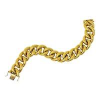 Vintage 18 Karat Gold Textured Curb Link Bracelet