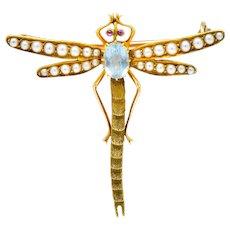 Edwardian 0.75 CTW Aquamarine Seed Pearl 14 Karat Gold Dragonfly Brooch
