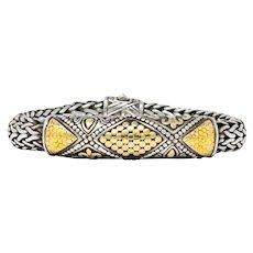 John Hardy Vintage Sterling Silver 18 Karat Gold Bracelet