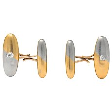 Antique 0.45 CTW Old Mine Diamond 14 Karat Gold  and Platinum Two-Tone Men's Cufflinks
