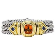 David Yurman Vintage Citrine Iolite Sterling Silver 14 Karat Gold Triple Cable Bracelet