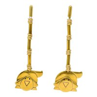 Manfredi Vintage Italian Enamel 18 Karat Gold Dog Long Drop Earrings