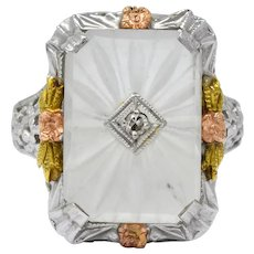 Art Deco Diamond Camphor Glass 14 Karat Gold Tri-Color Dinner Ring