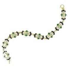 Art Deco Black & Green Enamel 14 Karat Gold Link Bracelet