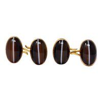 Victorian Oval Cabochon Agate 14 Karat Two-Tone Gold Men's Cufflinks